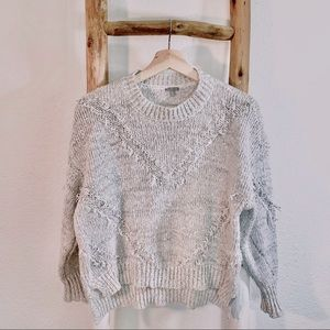 CHARLOTTE RUSSE FRINGE GRAY CROPPED SWEATER